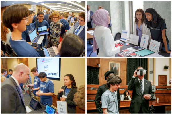 Students demonstrating their winning Congressional App Challenge apps to Members of Congress at #HouseOfCode